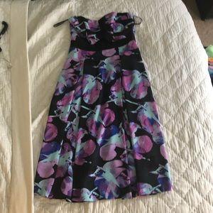 Strapless midi black floral dress